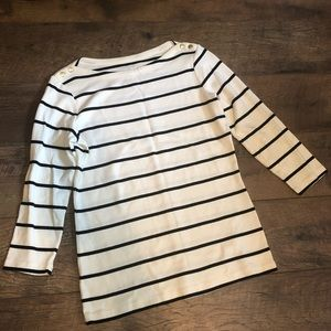 Lands' End 3/4 Sleeve Striped Top
